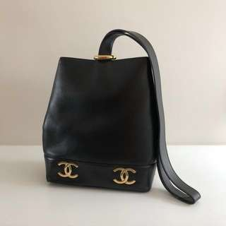 Chanel Vintage Bucket Bag, Black Lambskin with Gold CC Hardware