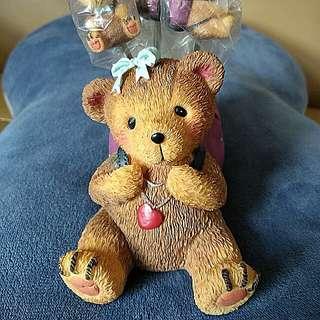 樹脂膠製 小熊 lovely Bear 生果叉 連插座