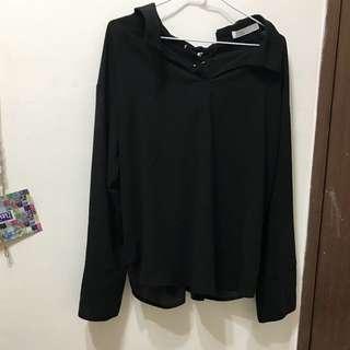背繫帶雪紡黑衫(可拉平口)