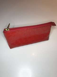 Fendi red patent leather make up bag