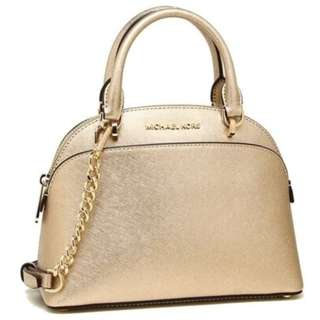 New Michael Kors MK Women's Emmy Leather Dome Crossbody Sling Satchel Bag (Gold and Black available)