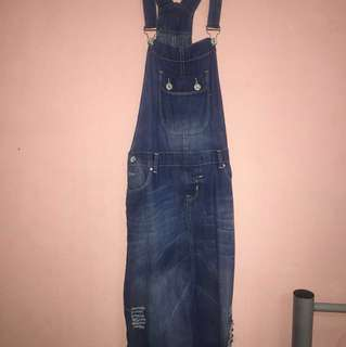 Ripped Jean Dungaree / Overall Skirt