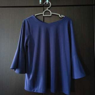 Blue Uniqlo Blouse with Bell Sleeve