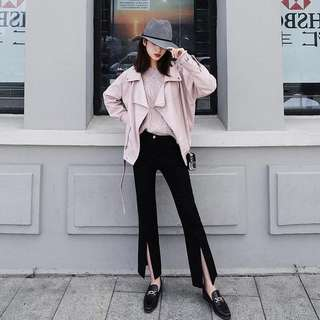 Pink Leather Jacket Outerwear