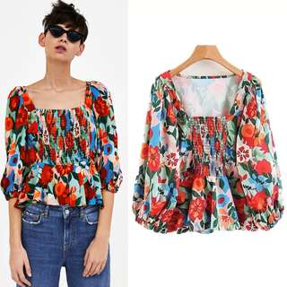 Inspired Zara Elastic Blouse With Flowing Ruffles Top