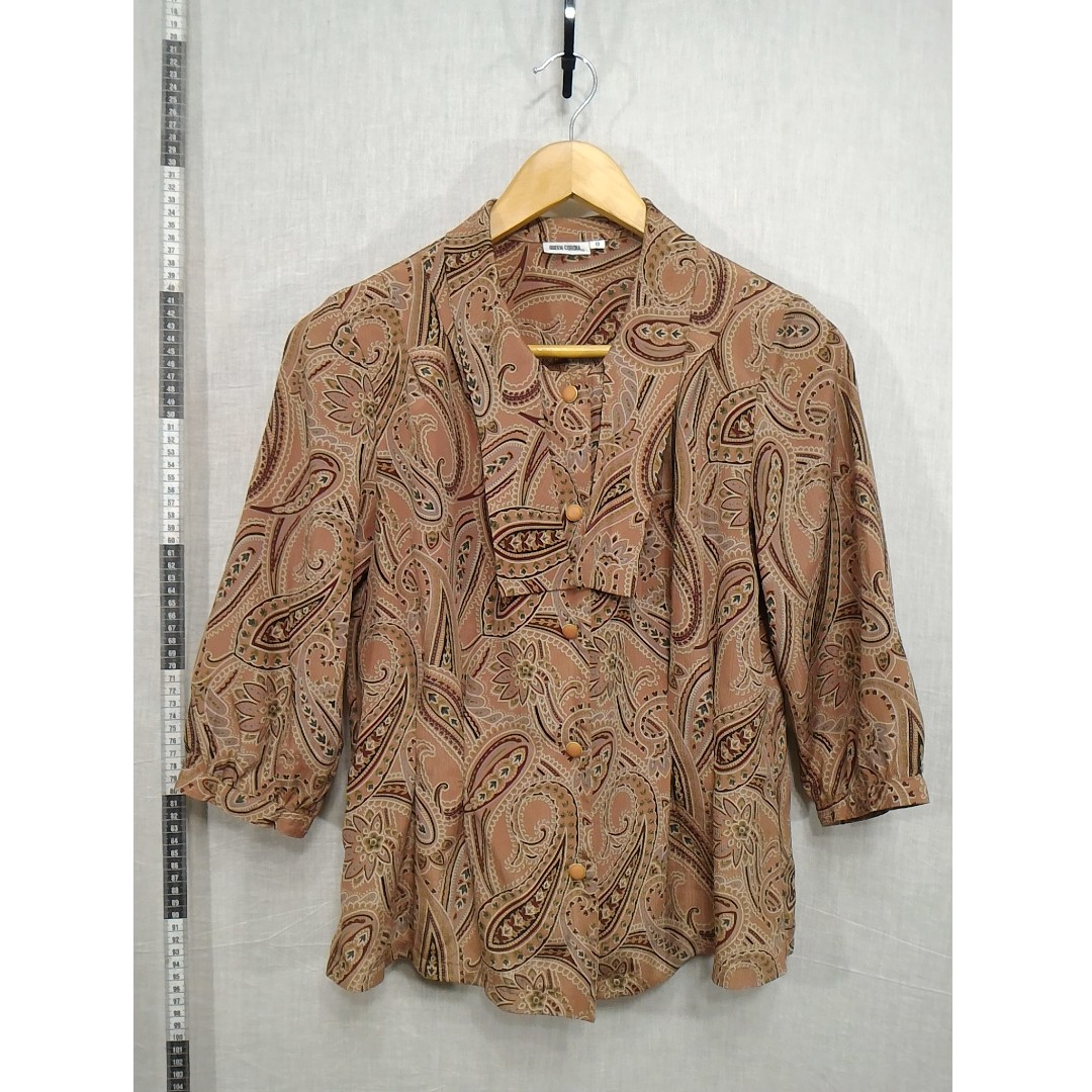 11118143-Queen Corona antique long-sleeved shirt古著長袖襯衫