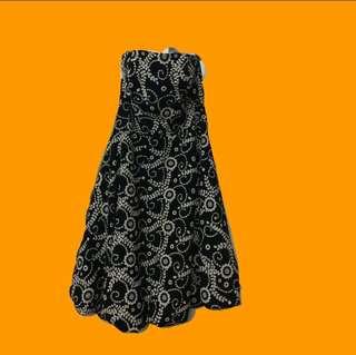 Black printed cocktail dress