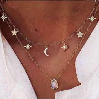 Moon Star Choker Necklace