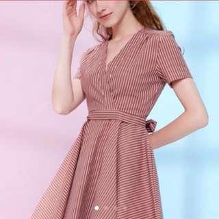 BNWT Pinstripe Wrap Dress