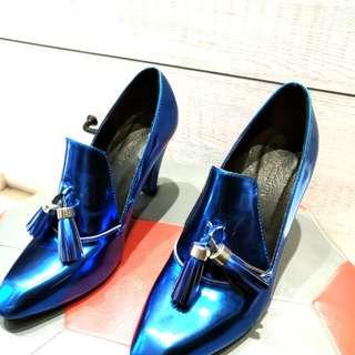 藍色亮面漆皮高根鞋#37#