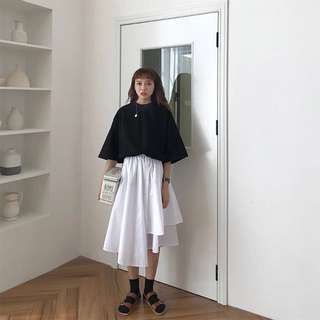 夏季韓國ins高腰單排扣不規則裙擺學生百搭中長款白色半身裙女