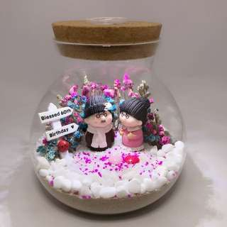 Customised order- Dry Flower Terrarium in Lighted jar