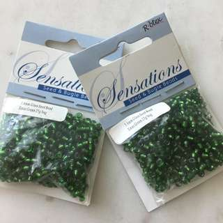 3.6mm Green Glass Beads