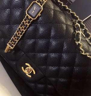 Chanel medium flap gold hardware caviar leather