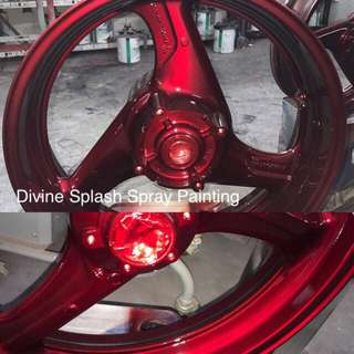Spray painting - candy red rim