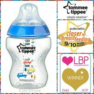 Tommee Tippee CTN Decorated Bottle Blue 9oz/260ml (loose)