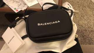 Balenciaga everyday camera logo leather bag