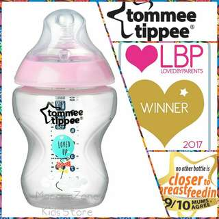Tommee Tippee CTN Decorated Bottle Pink 9oz/260ml (loose)