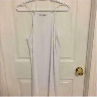 White halter neck dress