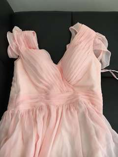 Miranda Kerr Hits the Runway Mexico City Hi-low Prom Gown Evening Dress (size S in pearl pink)