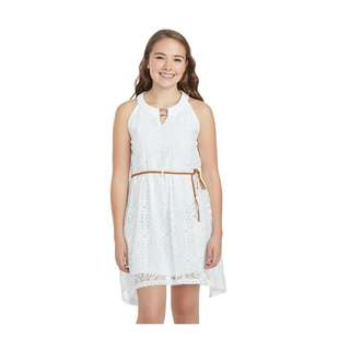 Girl's Attitude White Hi-Low with Brown Belt Dress