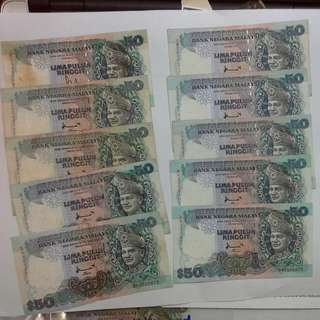 10 Pieces Malaysia Fifty Ringgit $50 Notes Wholesale Lot