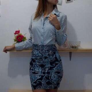 Blue Boho Pencil Skirt and Top Combo