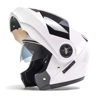 White Full Face Flip Up Motorcycle Bike Modular Helmet with Double Inner Lens