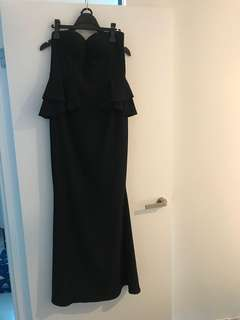Sheike black maxi formal strapless dress gown size 14