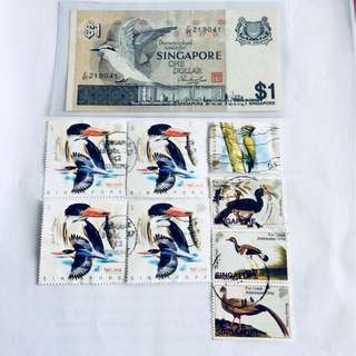 $1 Bird note & Stamps
