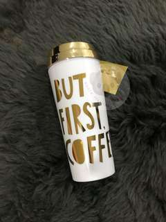 Bando Deluxe Hot Stuff Thermal Mug - But First Coffee - Metallic Gold Thermos Tumbler