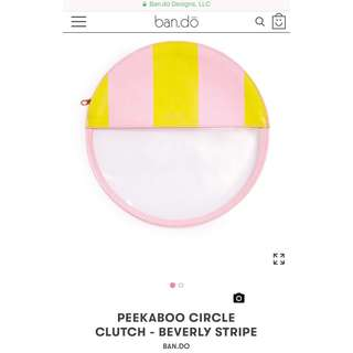 Bando Peekaboo Circle Clutch - Beverly Stripe Pink Yellow Clear Pouch