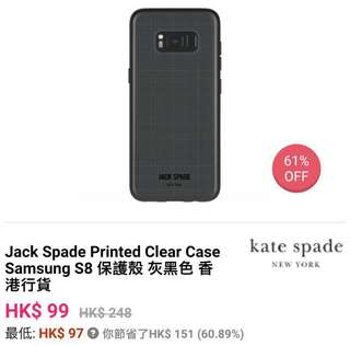 Jack Spade Printed Clear Case for Samsung S8 手機硬殼