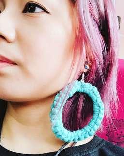 手織大圈耳環