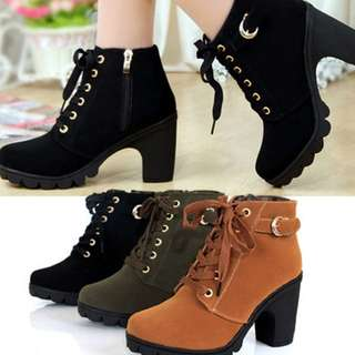Lace Up Heels Ankle Boots