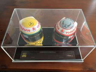 Miniature helmet from Formula 1 Drivers Lewis Hamilton and Heikki Kovalainen