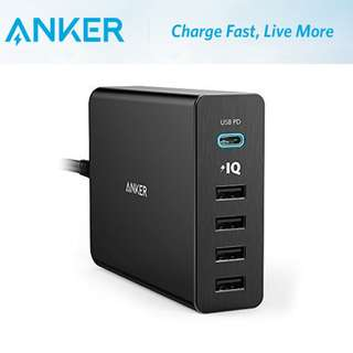 全新 Anker PowerPort+ Type-C 5-Port 60W Charger Power Delivery