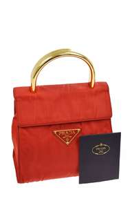 罕Prada vintage red tessuto metallo rossi hand tote with golden metal top handle in red 正紅色金屬手挽包 古著 復古 中古名牌