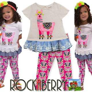 RVE Kids Llama Applique with Floral Leggings Set