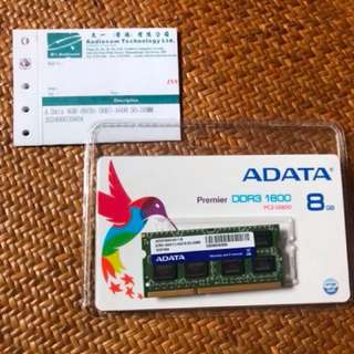 A-Data 8GB DDR3 1600 Notebook Ram 有單有盒 終身保用