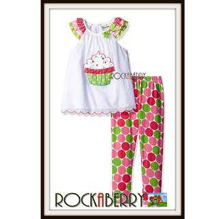 Rare Editions Cupcake Polka Dots Girl's Legging Set