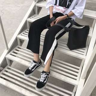 Black with white stripe culottes/pants