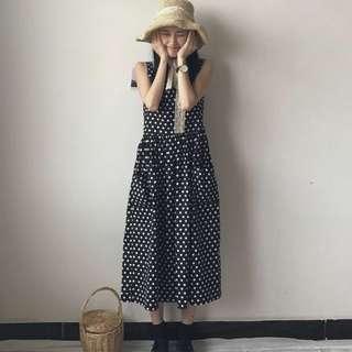 夏季韓國chic小清新波點方領高腰口袋大擺無袖娃娃裙背心連衣裙女