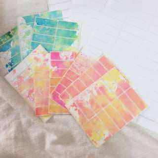 Customizable labels/stickers calligraphy watercolor