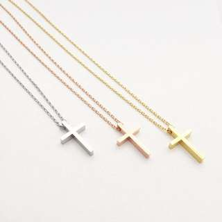 NL031- Modern Minimalist Cross Charm Necklace Cross Necklace - Made To Order - No personalisation for this item-Chat choice of Colour