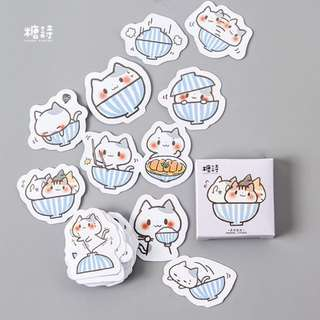 [Stickers] cat in bowl stickers for diary and scrapbooking