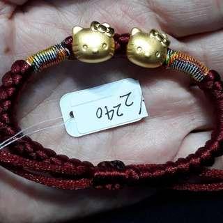 Gelang emas 24k kitty maroon