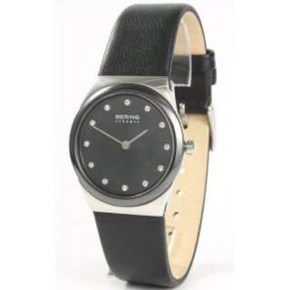 Bering ceramic sapphire crystal leather strap watch