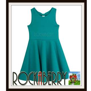 Rare Editions Green Textured Sexy Back Skater Dress