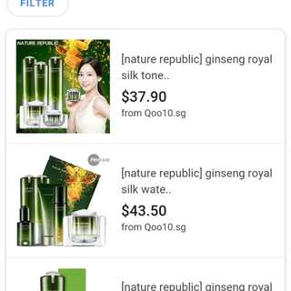 Nature Republic ginseng Royal silk essence and watery cream